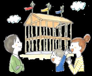 新居浜市で家づくりの建て前画像